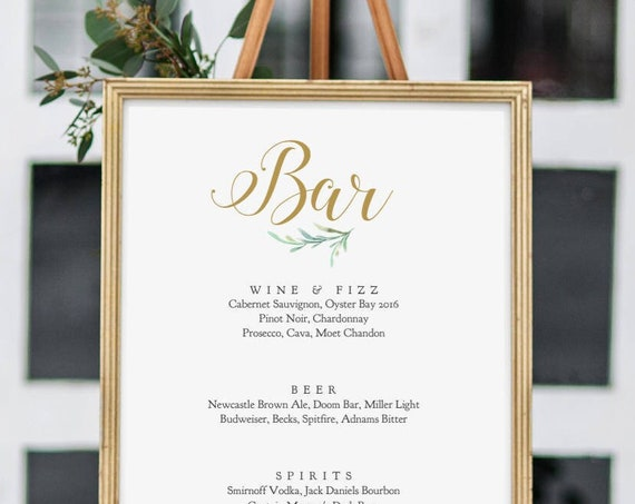 """Bar Sign, Printable Wedding Bar Menu Sign, In 8 sizes including: 8x10"""" and 18x24"""" 'Greenery', Wedding Signage. Corjl Template, FREE demo"""