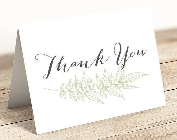 Leaf Thank You Card, Printable Thank You Notecard, PDFs ready to print. Flat and Folded included. Instant Download.