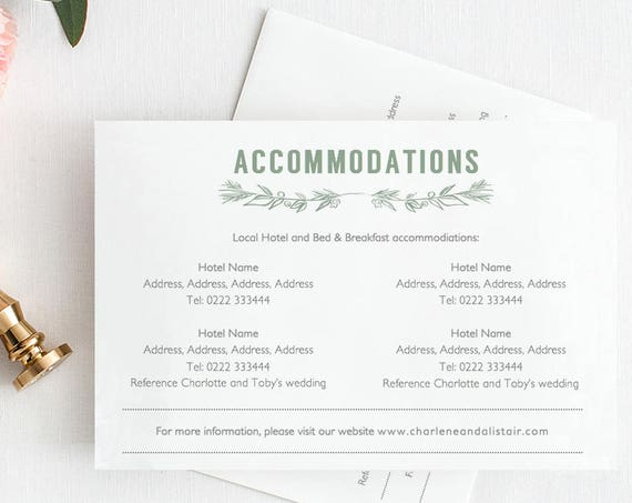 Accommodation card printable template, printable wedding accommodation card, 'Ellen' | DIY Editable printable template
