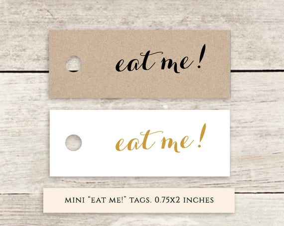 "Mini eat me! 2x0.75"" printable favor tags, gold, black, printable wedding label favour tags, Byron, Download and Print"