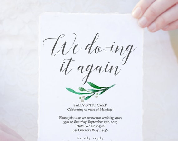Vow Renewal Invitation Template Wedding Anniversary We Do-ing it Again, We Still Do, DIY Printable Invite We Do Again 'Amelie', Editable PDF