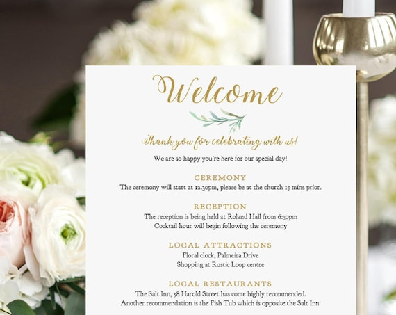 "Welcome Itinerary Card Printable, Wedding Welcome Note, half page & 5x7"", Greenery, Printable Wedding Welcome Card, Edit in WORD or PAGES"