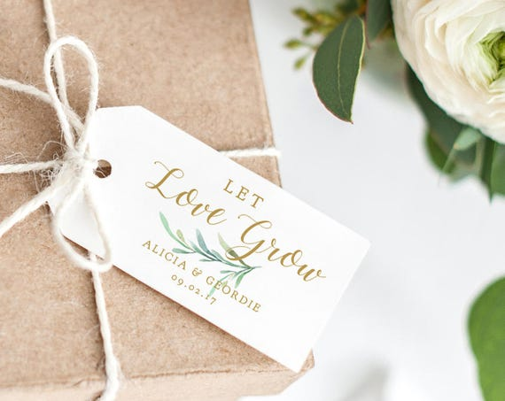 "Let Love Grow Tag 2x4"" Wedding Favor Tag, Wedding Love Gift Tags, Thank You Printable, Wedding Printable, Greenery. Edit in WORD or PAGES"