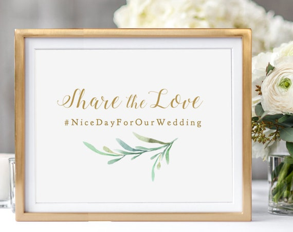 "Share the Love Photo Hashtag Sign, DIY Printable Hashtag Sign, Tag your Photos Sign 5x7"" and 8x10"" ""Greenery"" Edit in ACROBAT"