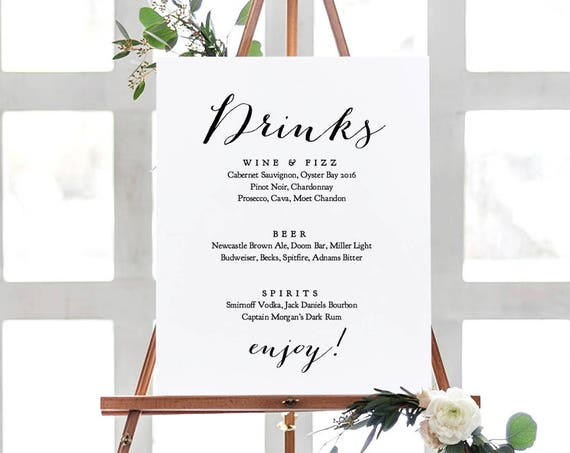 "Drinks menu sign, printable drinks bar sign, wedding signs, wedding printable, Sweet Bomb. 18x24"". Editable PDF"