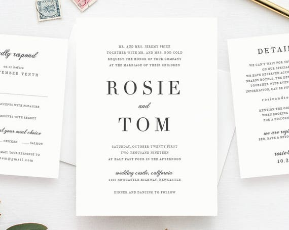 Wedding invitation template set, classic and elegant, wedding invitations. Invitation, rsvp and details card. 'Rosie'. Edit in WORD or PAGES