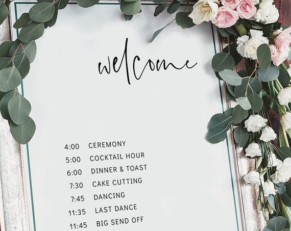 "Moderna - Minimalist Wedding Welcome Program Sign, Order of the Day Sign, Order of Events, 16x20"", 18x24"", 24x36"", A2 & A1 Corjl, FREE Demo"