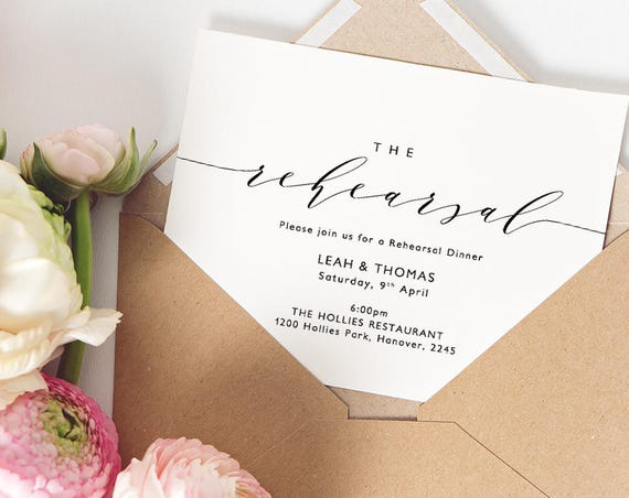 """Rehearsal Dinner Invitation Printable Wedding Rehearsal Night Before Template A6, 5.5x4"""" and 5x7"""", """"Wedding"""" Edit in WORD or PAGES"""