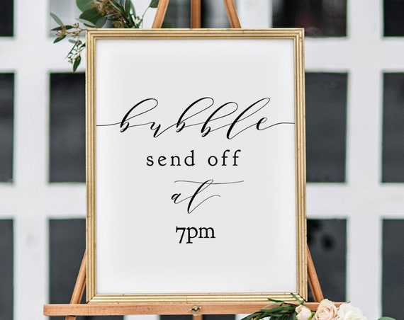 "Bubble Send Off Sign Printable template, Wedding Bubbles Sign 8x10"", 18x24"" wedding sign, ""Wedding"" Editable PDF"