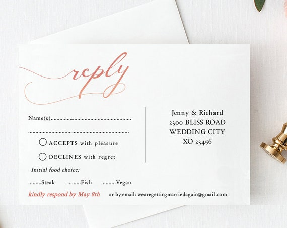 Postcard RSVP Template, Printable Rsvp Card, Wedding Response Card, Rose Gold EFFECT, Corjl FREE Demo