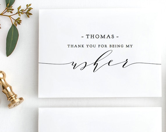 "Usher card + 6 other cards, DIY printable folded cards, Flower Girl, Bridesmaid, Best Man, Groomsman, Usher ""Wedding"", Editable PDF"