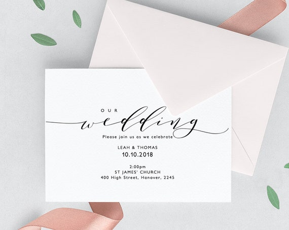 "Wedding Invitation Printable Set Invitation Template Printable wedding invitation, rsvp, info ""Wedding"" Edit in WORD or PAGES"