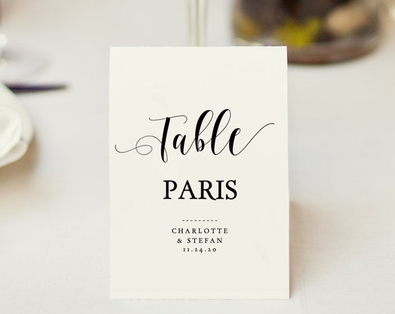 Table Name Cards Template, Printable Table Names 4 per page, instantly download, customise, print, 'Mr. & Mrs.' Editable PDF