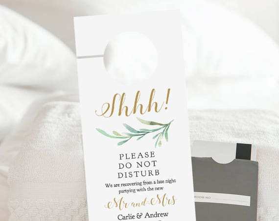 Do Not Disturb Door Hanger Printable, Wedding Door Hanger, Welcome Door Hanger Template, Editable PDF