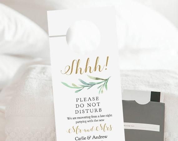 Do Not Disturb Door Hanger Printable, Wedding Door Hanger, Welcome Door Hanger Template, Editable PDF