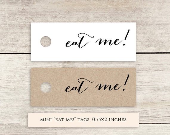 "eat me! mini 2x0.75"" printable favor tags, printable wedding label favour tags 