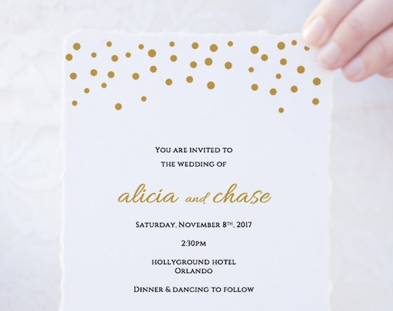 Wedding Invitation template set, gold confetti printable invitations, Invitation suite, RSVP, Information, Orlando | Edit in WORD or PAGES