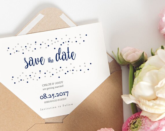 Navy Blue Confetti Wedding Save the Date, Confetti Effect, Printable Save the Date, Dotty Shimmer. Edit in WORD or PAGES