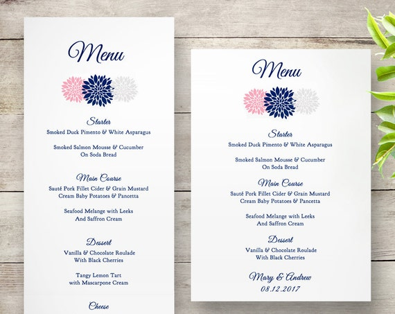 Wedding menu printable template, shown in navy silver and pink. Easily change all colours. Flowers.  Long and 5x7 templates included