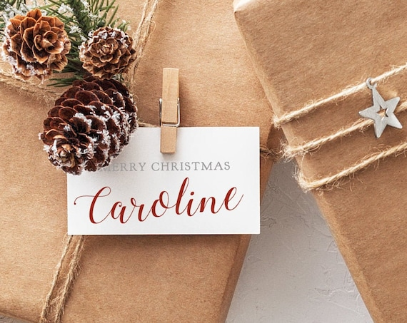 """3.5x2"""" Merry Christmas Gift Tags Template, Printable Xmas Tags, in a Silver colour and Red, Corjl, FREE Demo, """"Susie"""""""