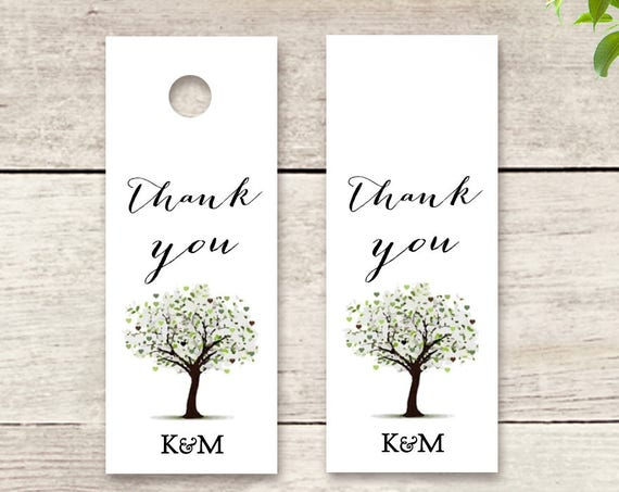 "Thank you Favour Tag 2.5x1"" printable tag with tree design Wedding favour or Invitation tag 'Tree of Love', Edit in WORD or PAGES"
