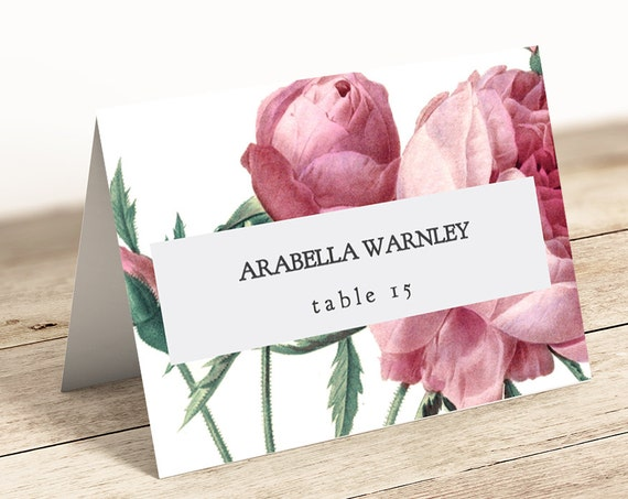 Vintage rose flat and folded tent name place card templates, printable name cards, Vintage Rose | Editable printable template