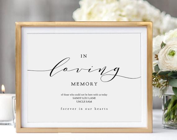 "In Loving Memory Printable Sign, Printable In Loving Memory, 8x10"" and 5x7"" printable wedding sign, ""Wedding"" Corjl FREE Demo"