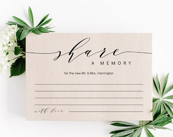 "Share a Memory for the NewlyWeds, Wedding Keepsake, In Loving Memory Cards, Printable Cards, 5x3.5"" & A6, Corjl Templates, FREE Demo"