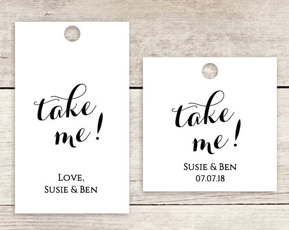 "Take me favor tag 1.5x2.5"" & 1.75"" square labels printable wedding label favour tags 