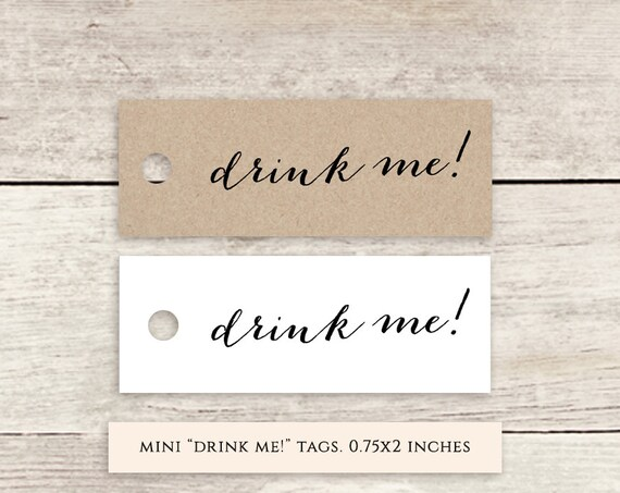 "drink me! favor tags 2x0.75"" printable wedding label favour tags 