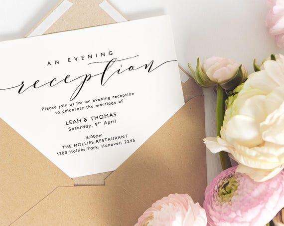 "Evening Reception Invitation Printable Wedding Reception Invitation Card Template A6, 5x7"" and 5.5x4"" ""Wedding"" Edit in WORD or PAGES"