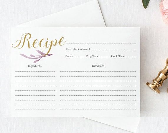 "Recipe Card with Lilac and Gold in 4x6"", two per page and one up,  Printable Recipe Card, Bridal Shower Card, Download and Print"