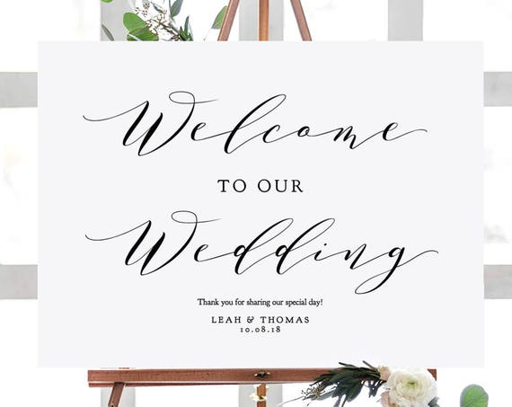 "Welcome Sign, Welcome to our Wedding Sign Printable, 6 sizes 16x20"", 18x24"", 24x36"", A1, A2, A3, ""Wedding"" Edit in ACROBAT"