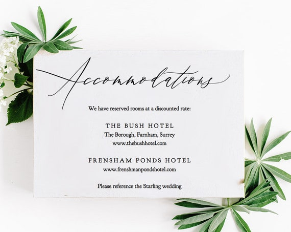 "Accommodations Card Template Printable Accommodation Card Wedding Guest Enclosure Card 5x3.5"", ""Wedding Greenery"" Editable PDF"