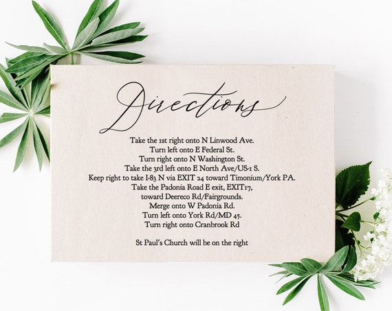"Directions Card Template Printable Directions Card Wedding Guest Enclosure Card 5x3.5"", ""Wedding Greenery"" Editable PDF"