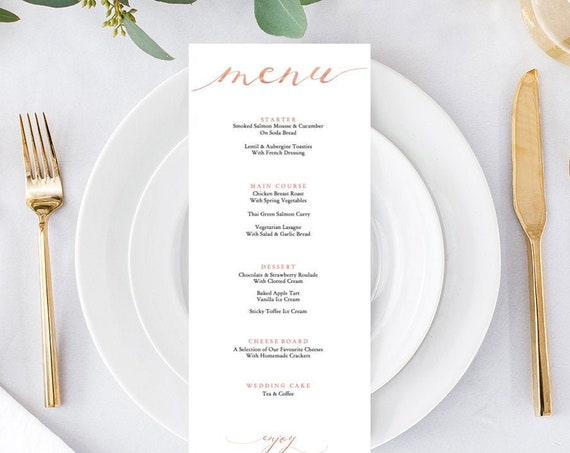 Rose Gold Menu Printable, 'menu' is fixed, 3 sizes included: long, half page and full page Rose Gold EFFECT, 'LucyRose', Editable PDF