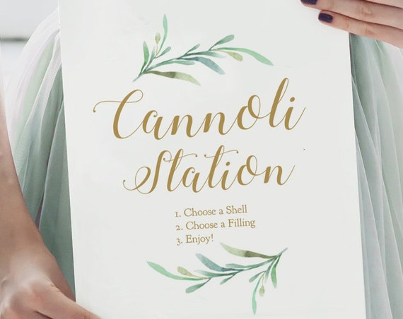 "Cannoli Station Sign, Wedding Table Signs, Printable Cannoli Station, ""Greenery"" Wedding Signage in 5x7"" and 8x10"". Download + Print"