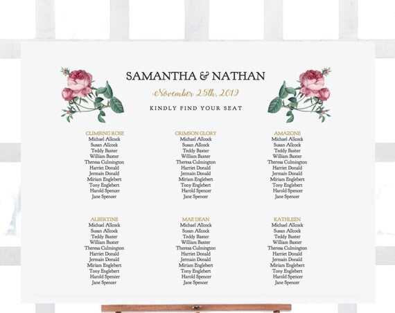"Floral Rose Seating Chart, Rose Table Plan Template, Printable Table Seating Plans, 18x24"" and A2 sizes, 'Vintage Rose', Editable PDF"