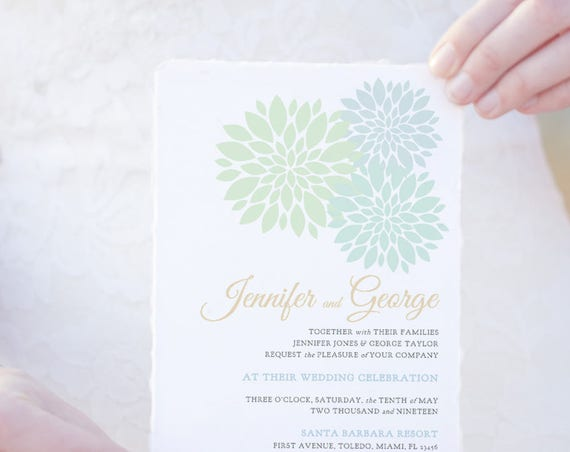 Mint green wedding Invitation template printable, pale green invitation, Flowers in any colours. Edit in WORD or PAGES
