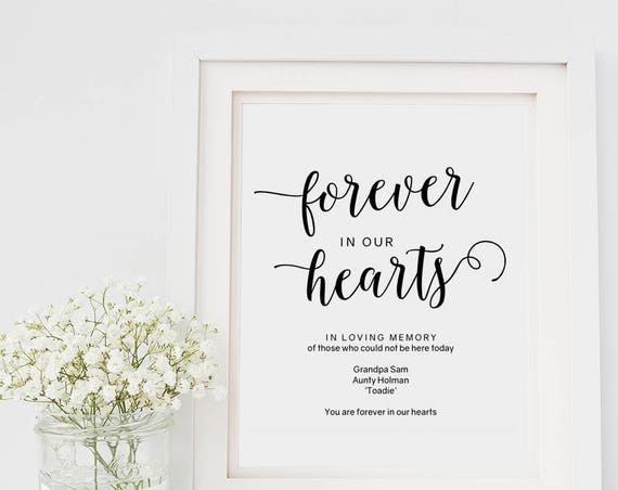 "In loving memory sign template, forever in our hearts sign, printable memory sign, 8x10"" Wedding signs, PDF. Edit in Acrobat Reader."