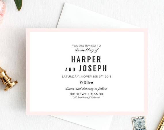 Modern Wedding Invitation RSVP and Info Template printable, Harper, Minimalist Wedding, elegant wedding invitation, Edit in WORD or PAGES