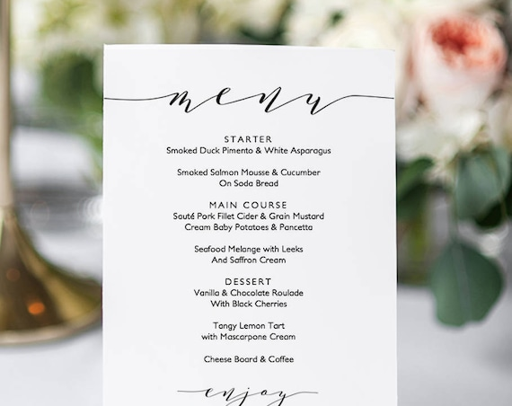 "Wedding menu template, 5x7"", 4x9"" and full page menu. Printable menu card DIY templates. Edit, print, trim! ""Wedding"", Edit in WORD or PAGES"