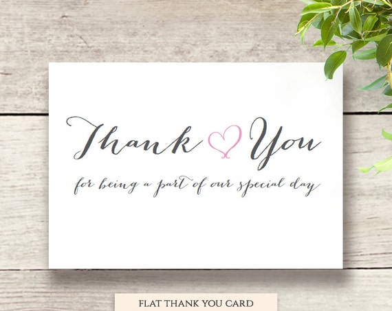 Thank You Wedding Notecard, Thank You For being a part of our special day card 5x3.5 'Sweet Bomb' Printable Wedding Thank You Card