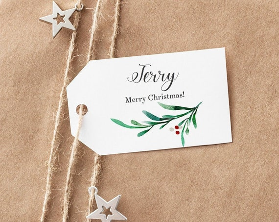 "Mistletoe Christmas Labels DIY, Printable Gift Labels or Tags, cut to shape, approx 3.7x2.3"" each, 8 tags per sheet, Editable PDF"