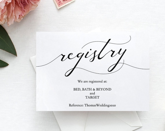 "Gift Registry Card, Printable Wedding Registry cards, DIY Wedding, ""Lucy"" Editable PDF"
