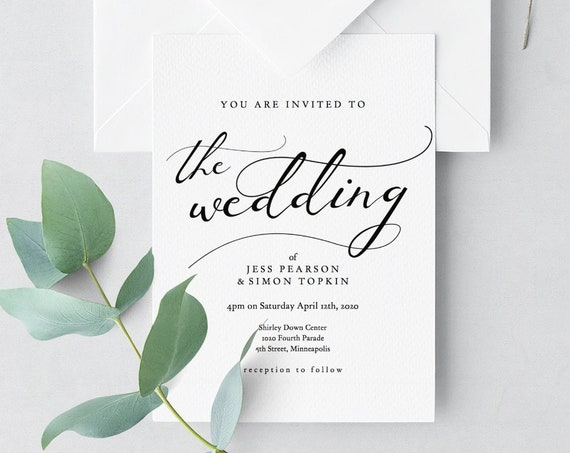 Wedding Invitation Template Download, DIY Printable Invitations, Printable Wedding Invitation, 'Lucy', Editable PDF