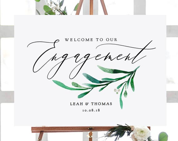 "Greenery Engagement Party Welcome Sign, Printable Engagement Welcome Sign 7 sizes included ""Wedding Greenery"" Editable PDF"