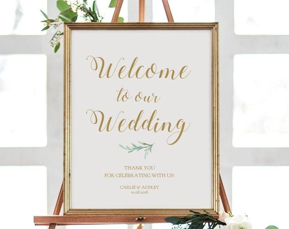 "Greenery Welcome Wedding Sign Printable. Printable Welcome Sign Template, Wedding Welcome, 18x24"" and A2 sizes. Edit in ACROBAT"