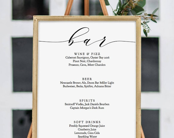 "Bar Menu Printable Signs Wedding Bar Menu Sign and drinks sign 8x10"", 18x24"" and A2 sizes included ""Wedding"" Editable PDF"