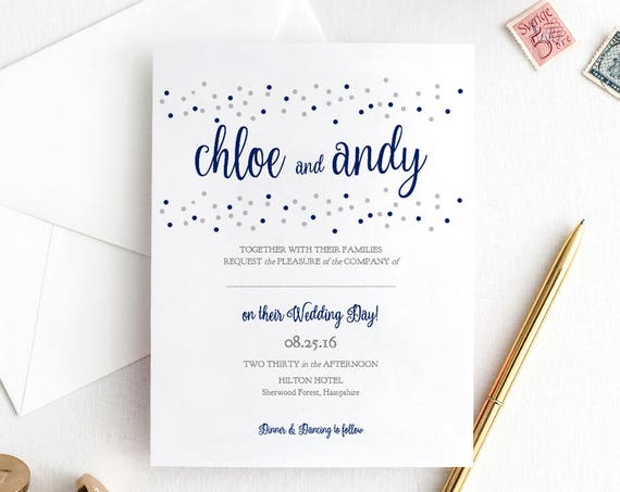 Confetti Dot Wedding Invitation template, Printable Invitation Template Navy Blue and Silver Dots, Dotty Shimmer, Edit in WORD or PAGES